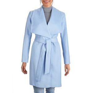 Silk Wool Blend Wrap Coat